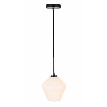 Gene 1 light Black and Frosted white glass pendant