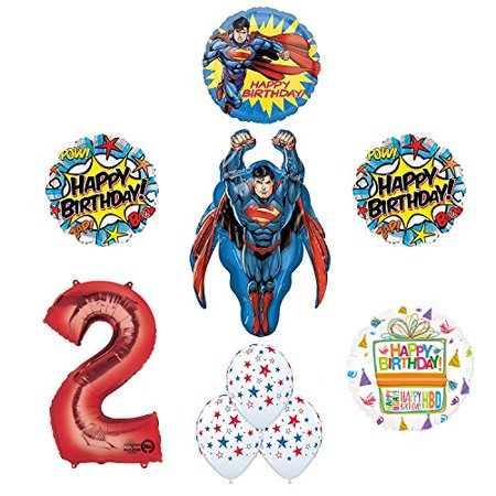 Superman 2nd Birthday Party Supplies and Balloon - Superman Party Decorations