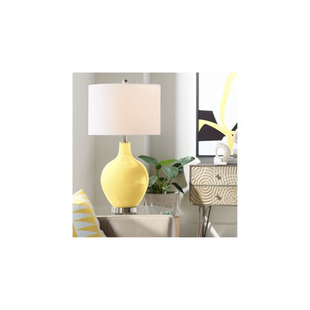 Color Plus Modern Table Lamp Daffodil Yellow Glass Ovo White Linen Drum Shade for Living Room Family Bedroom Bedside Nightstand Daffodil Bell Stained Glass