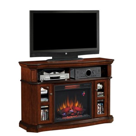 Aberdeen TV Stand with 23″ Infrared Quartz Fireplace, Premium Cocoa