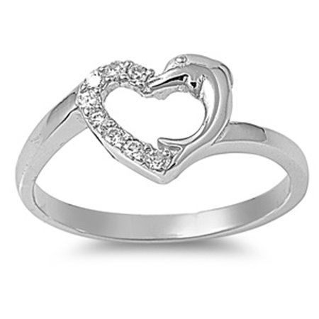 Sterling Silver Dolphin Heart White CZ Ring Promise 925 Band USA 9mm Size 5