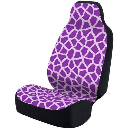 Coverking Velour Dash Cover - Coverking Universal Seat Cover Fashion Print, Ultra Suede, Giraffe Purple Spots and Purple Background with Black Interlock Backing