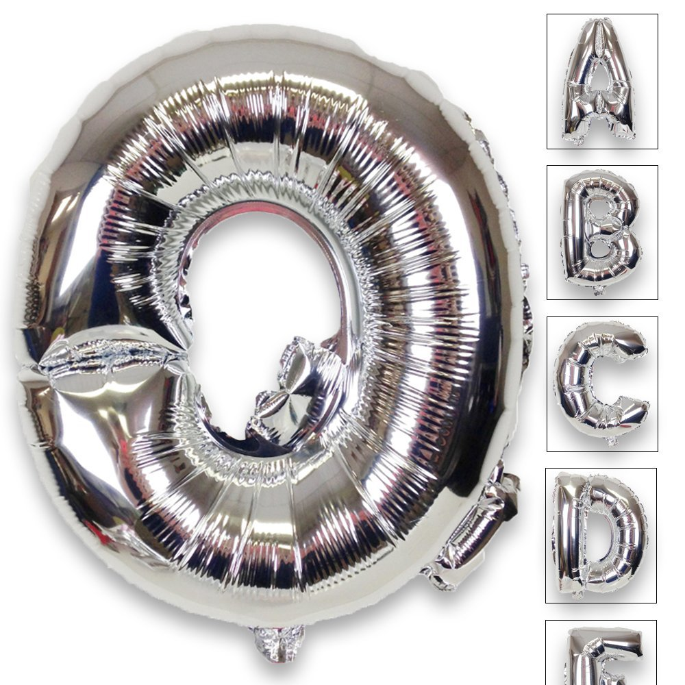 Just Artifacts Shiny Silver (30-inch) Decorative Floating Foil Mylar Balloons - Letter: Q - Letter and Number Balloons for any Name or Number Combination!