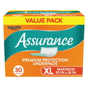 Equate Assurance Maximum Absorbency Unisex Premium Protection Underpads Value Pack, XL, 30 count
