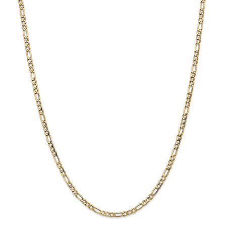 14K Yellow Gold 24In 3 5Mm Solid Lightweight Figaro Necklace Chain