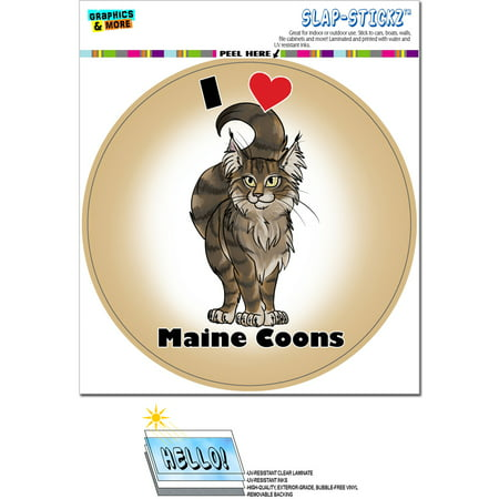 I Heart Love Maine Coons Cat - Cute Pet Circle SLAP-STICKZ(TM) Premium