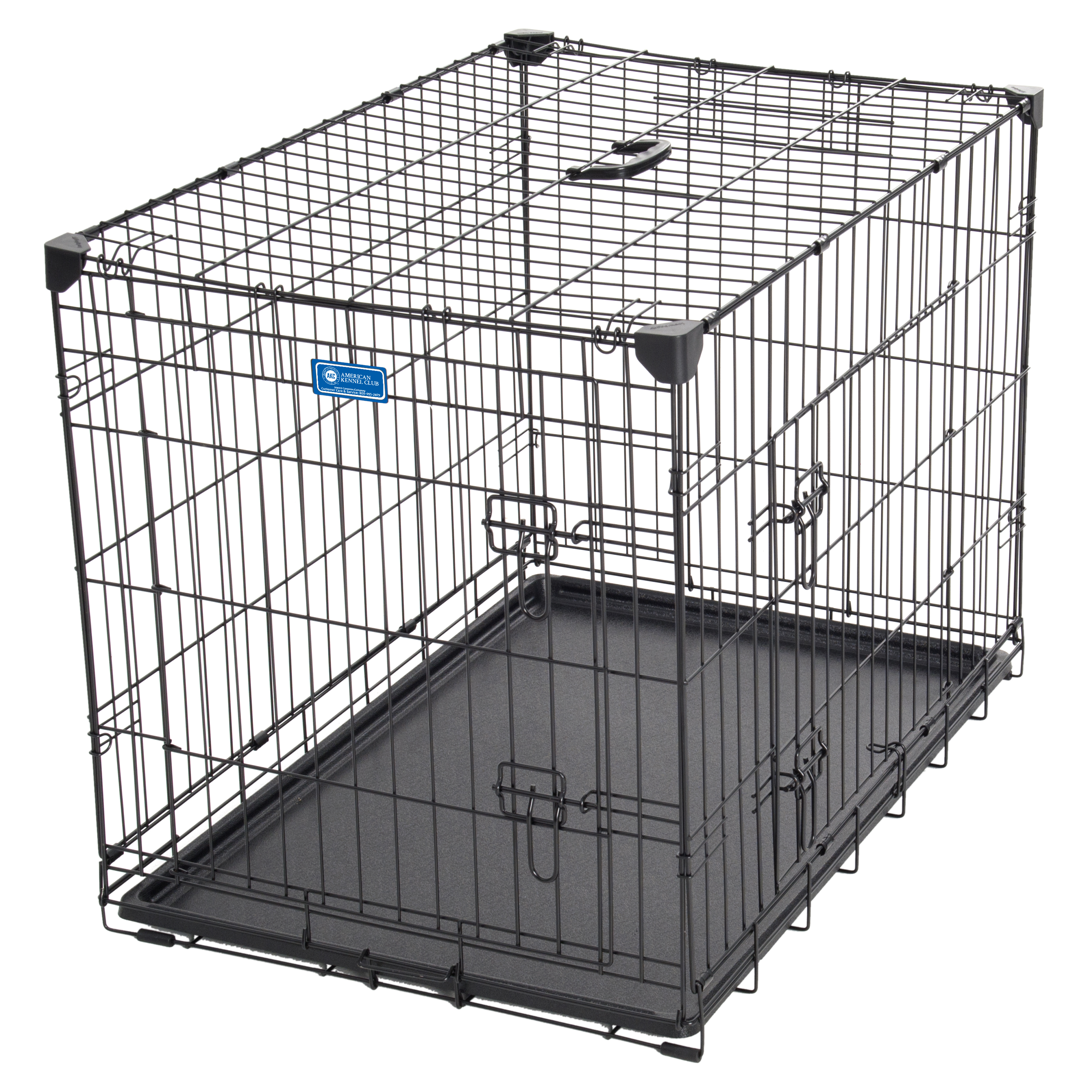 AKC® 30L x 21W x 24H Inch 2-Door Dog Training Crate with Corner Stabilizers, Rust-Resistant Wire, Handle, Leak-Proof Removable Pan, Free Training Guide