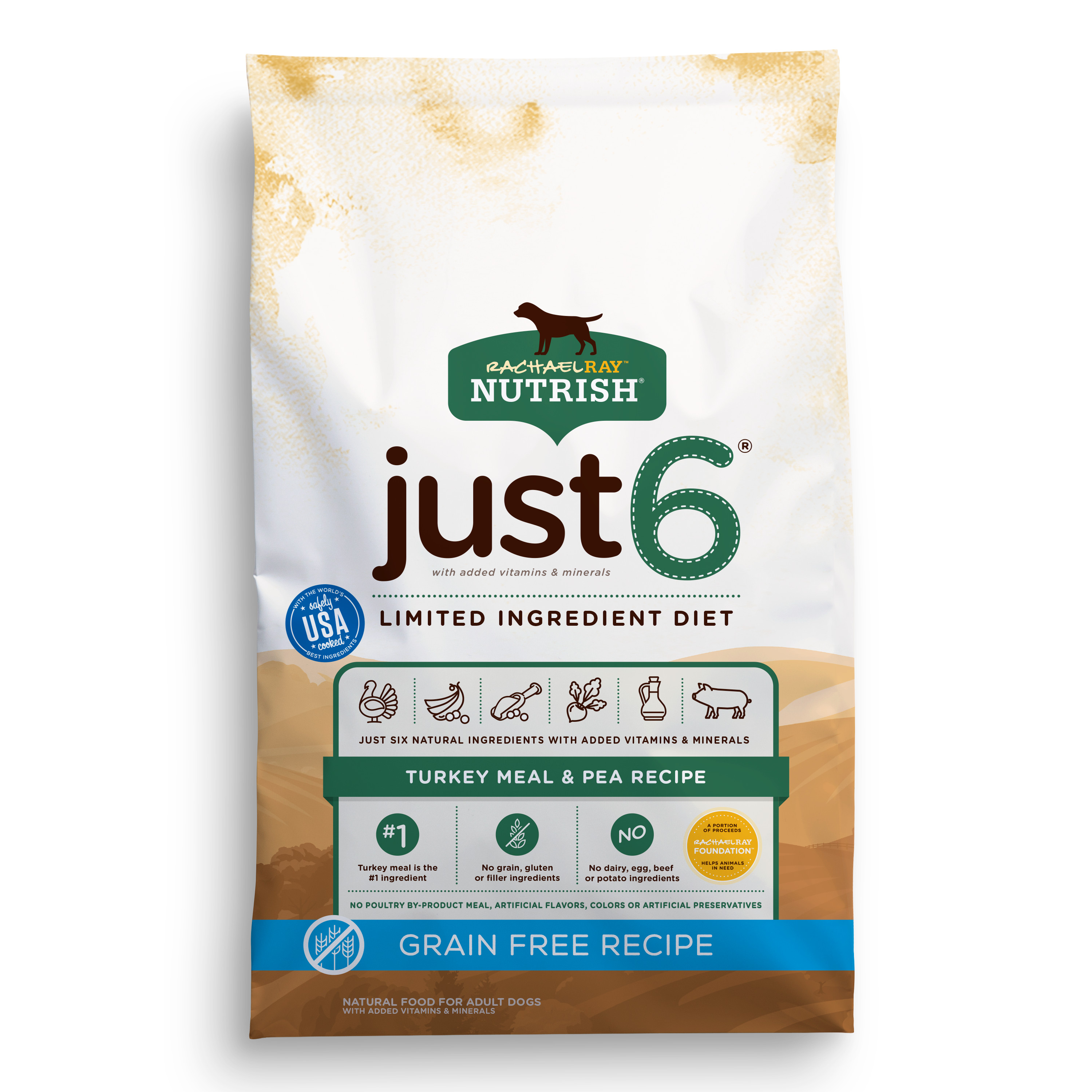 Rachael Ray Nutrish Just 6 Natural Dry Dog Food, Grain Free Turkey Meal & Pea Limited Ingredient Diet, 12 lbs