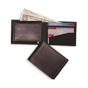 Black Leather Bi-Fold Wallet W/ Pull Out Card Case Designer Jewelry by Sweet Pea