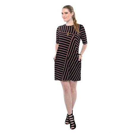 Gabby Skye Women Short Sleeve Striped Shift Dress -Wear to Work Dress