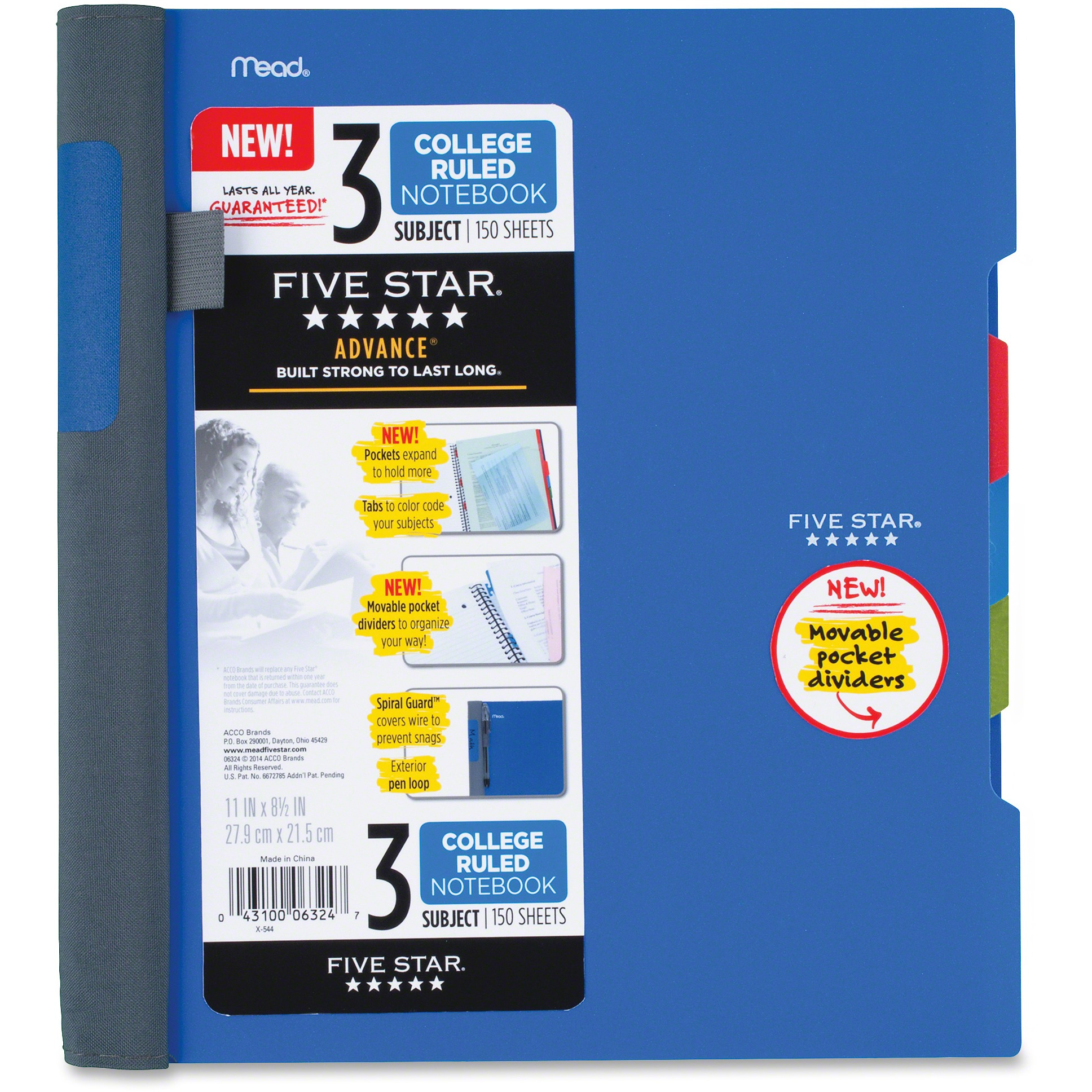 Five Star® Advance Notebook, 3 Subject, College Ruled,Assorted Colors