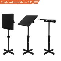 Ktaxon Height Adjustable Lectern Stand Portable Presentation Podium Church Lecture Stand Black