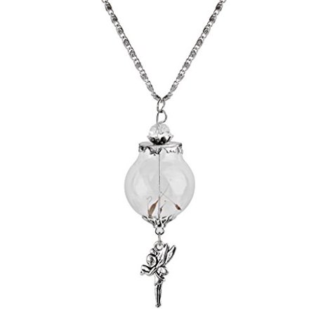 Dandelion Angle Pendant Glass Mini Wish Bottle Vial