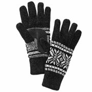 Isotoner Womens Black & White Snowflake Chenille Knit Gloves Fleece Lined