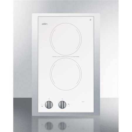 Summit Appliance CR2110WHTK15 15 in. 115v 2-Burner Cooktop Trim Kit, Ceramic Glass with Stainless Steel, White