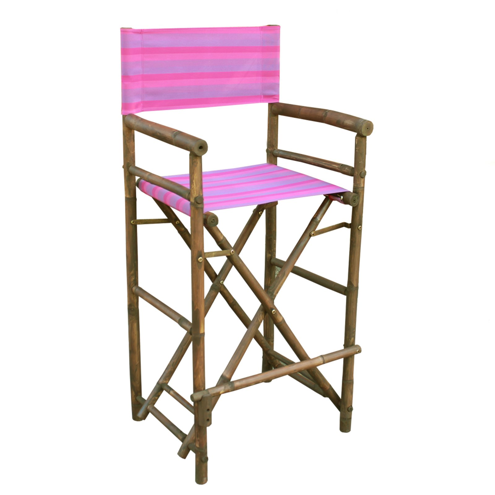 Statra Bamboo Indoor Outdoor Canvas Directors Chair Barstool   Set Of 2