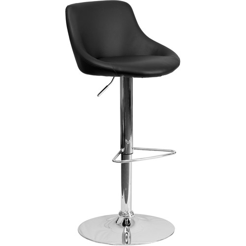 Contemporary Vinyl Bucket Seat Adjustable Height Barstool with Chrome Base, Set of 2, Multiple Colors