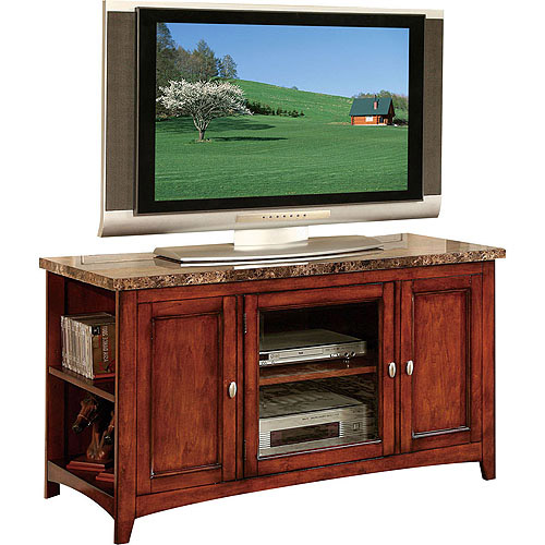 ACME Finely Faux Marble and Cherry TV Stand for Flat Screen TVs up to 60""