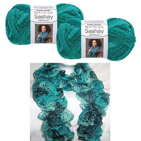 2 X Crochet Yarn Malachite Metallic Sashay Knitted Scarf Green Teal Knit (Bern Green)