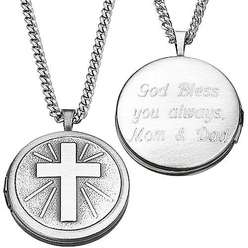 Personalized Engraved Cross Locket Pendant