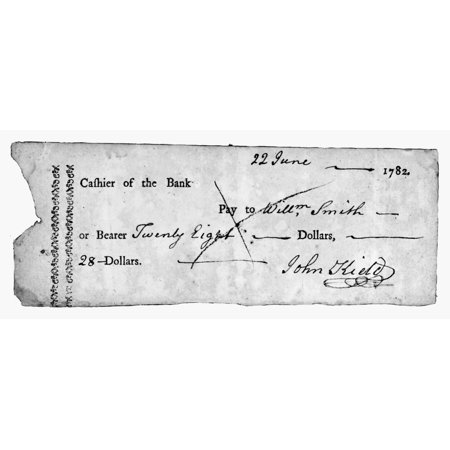 Bank Check 1782 Ncheck On The Bank Of North America 22 June 1782 One Of The First Known Checks Rolled Canvas Art     24 X 36