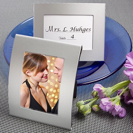 Silver Resin Place Card Frame - Matte Silver Metal Place Card/Photo Frames