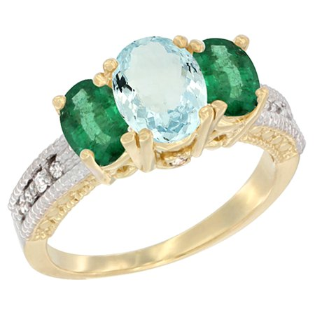 14K Yellow Gold Diamond Natural Aquamarine Ring Oval 3-stone with Emerald, sizes 5 - (Natural Aquamarine Emerald)