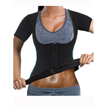 Swat Vest For Halloween (LELINTA Women's Neoprene Sauna Vest with Sleeves Gym Hot Sweat Suit Weight)