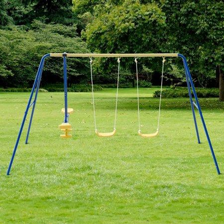 Costway Metal A-Frame Four Seat Swing Set Fun Play Chair Kids Children Backyard Outdoor ()