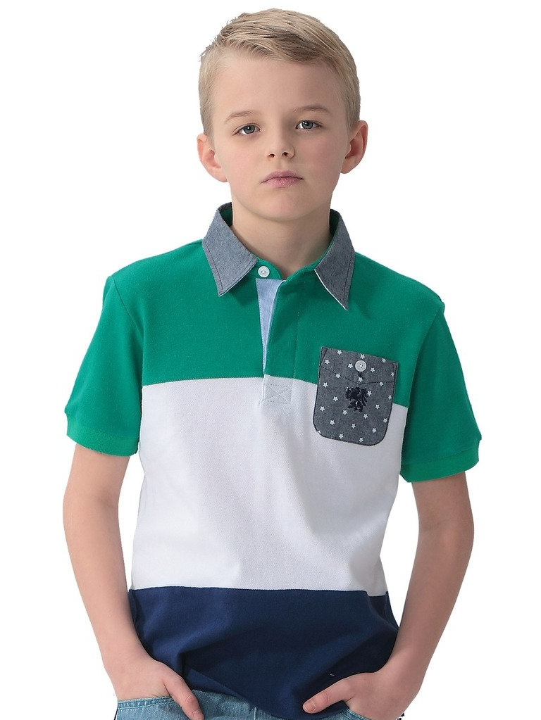 Leo&Lily Boys' Cotton Pique Casual Polo Shirts Chambray Collar