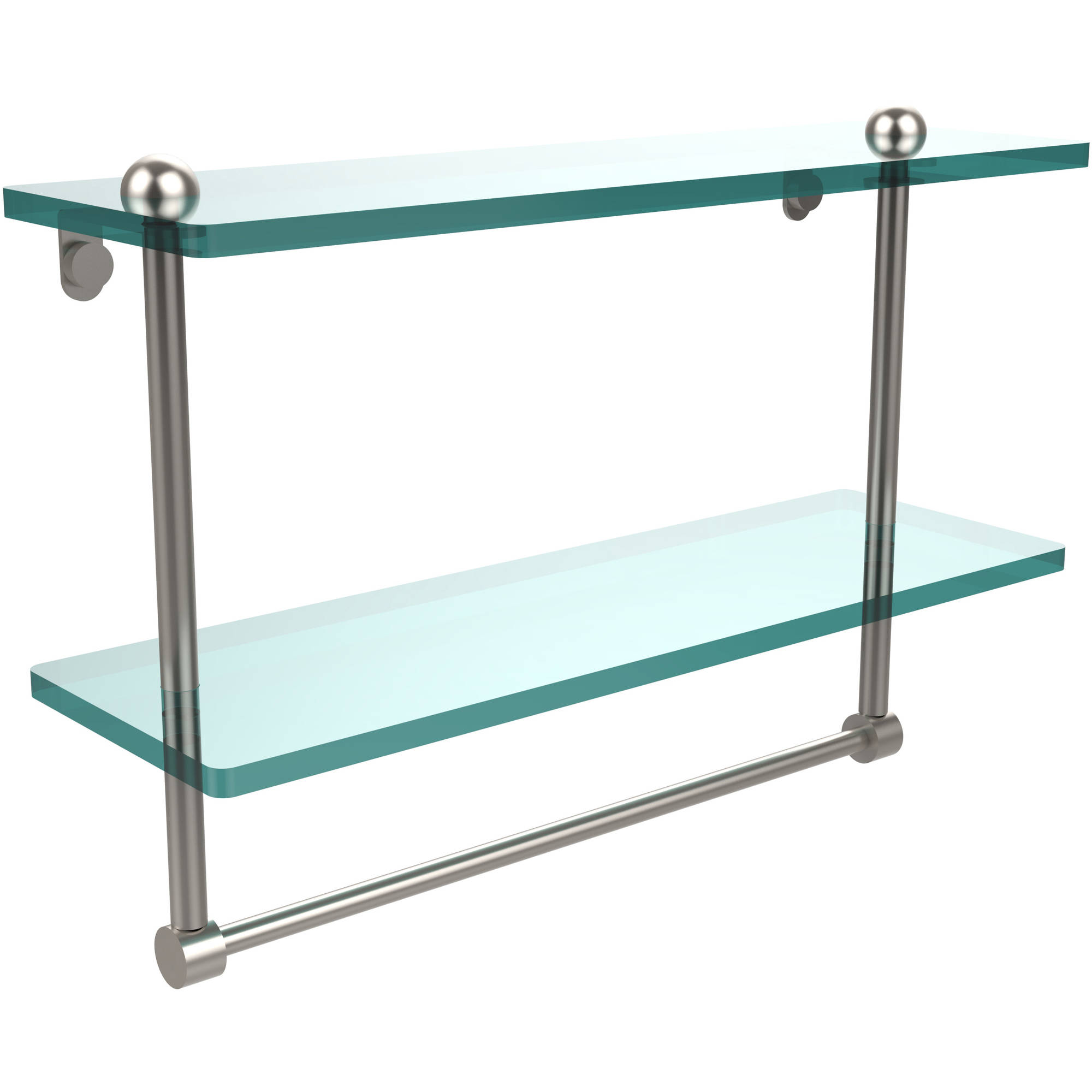 "16"" 2-Tiered Glass Shelf with Integrated Towel Bar (Build to Order)"