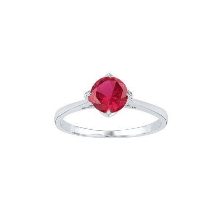 FB Jewels Sterling Silver Womens Round Lab-Created Ruby Solitaire Ring 1.00 Cttw Round Ruby Solitaire