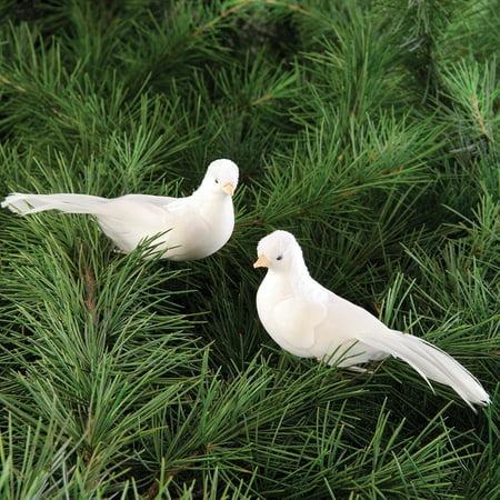 Set of 2 WHITE DOVE Bird Clip Ornaments, 4.5