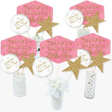 Pink Twinkle Twinkle Little Star - Baby Shower or Birthday Party Centerpiece Sticks - Table Toppers - Set of 15 (Rock Star Centerpieces)