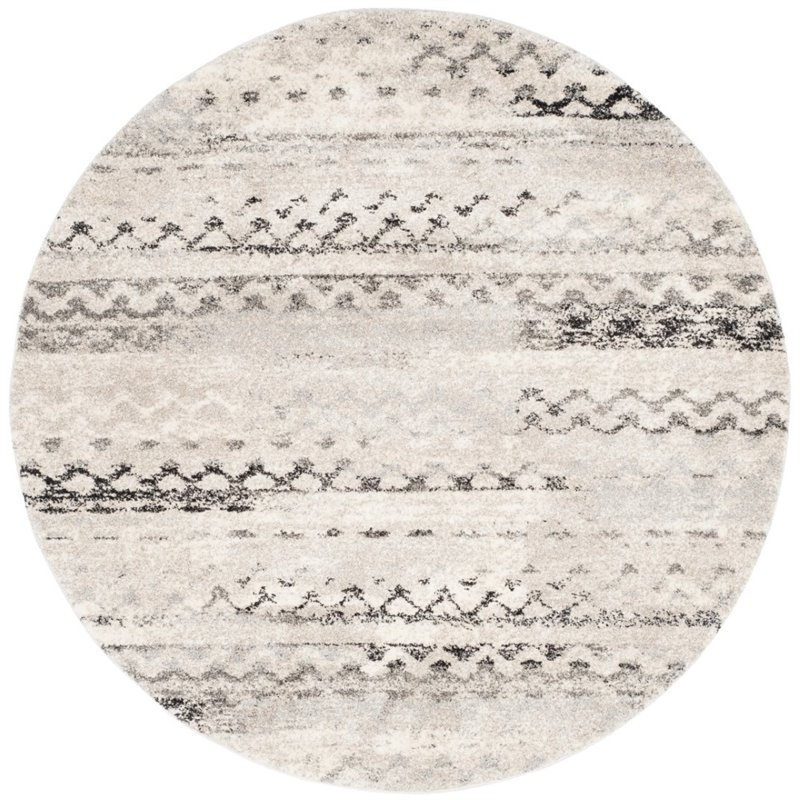 Safavieh Retro 6' Square Power Loomed Rug in Cream and Gray - image 2 of 10