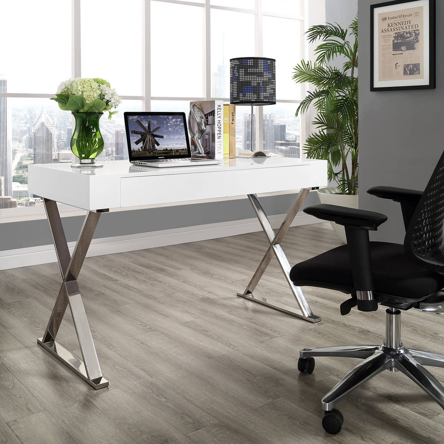 Stainless steel office desk Glass Top Modway Sector Office Desk With Stainless Steel Frame Multiple Colors Walmartcom Walmart Modway Sector Office Desk With Stainless Steel Frame Multiple