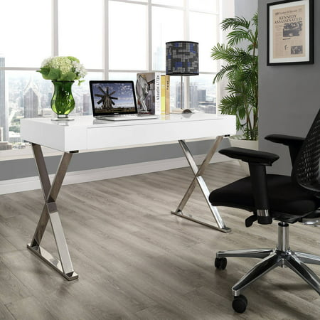 Modway Sector Office Desk with Stainless Steel Frame, Multiple Colors 30' Double Pedestal Steel Desk