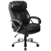 BSD National Supplies Santoro Big & Tall Black Leather Executive Adjustable Swivel Office Chair with Wide Cushioned Seat and Padded Arms