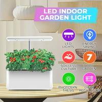 Ecoo Grower IGS-10 Indoor Garden Grow System Soil-free indoor gardening system,35W Indoor LED Plant Grow Lighting Desk Lamp Smart Hydroponic Herb Garden Kit-White