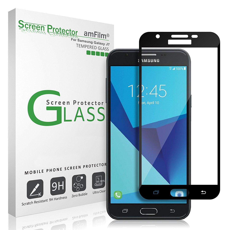 Samsung Galaxy J7 Amfilm Full Cover Tempered Glass Screen Protector Black Walmart Com Walmart Com