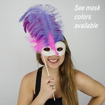 ZUCKER Pink-White Feather Mask w/Ostrich Feathers - Shocking Pink -