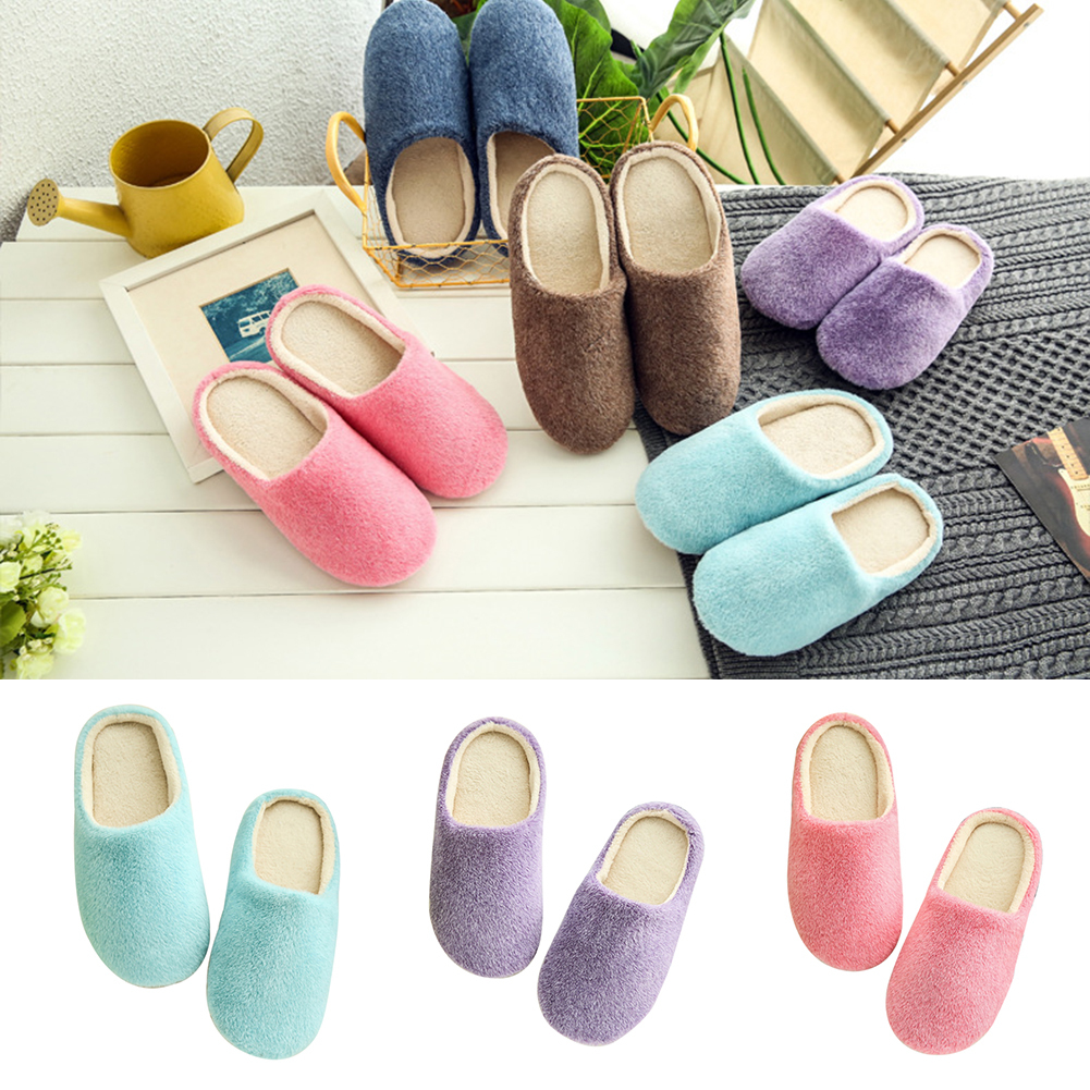 (Asian Size)Unisex Autumn Winter Warm Soft Home Non-Silp Pure Color Slippers Indoor Shoes