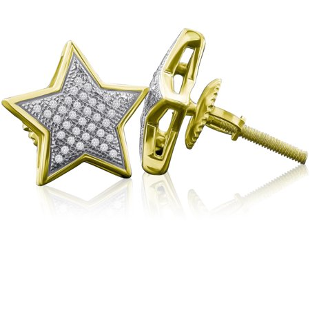 I1 Star Earrings - Sterling Silver 13MM Star-shaped Micro Pave Diamond Stud Earrings (0.25 cttw, H-I color, I1-I2 Clarity)