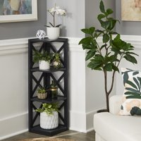 Weston Home Rebecca X-Frame 3-Shelf Corner Bookcase