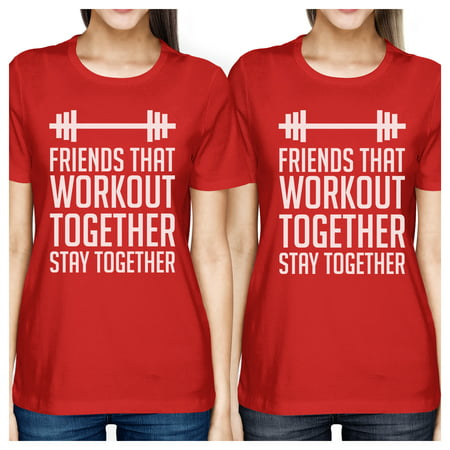Friends Workout Together Womens Red Funny Best Friend Matching