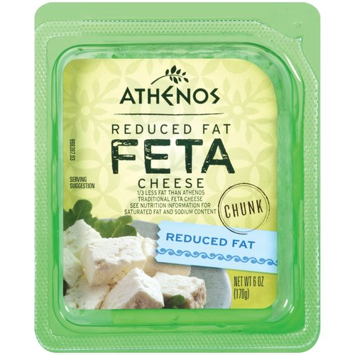 Athenos Feta Chunk Reduced Fat Cheese, 6 oz