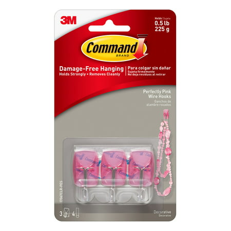 Command Perfectly Pink Wire Hooks, Small, 3 Hooks, 4 Clear Strips/Pack