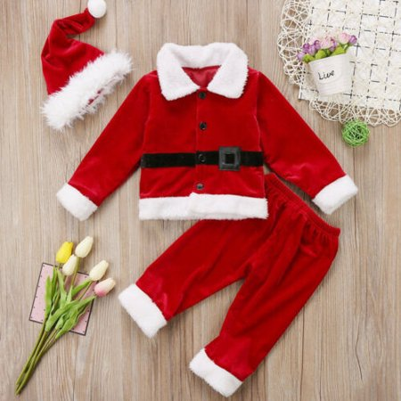 Christmas Toddler Baby Boy Girl Xmas Santa Claus Costume Warm Outfits Hat ()