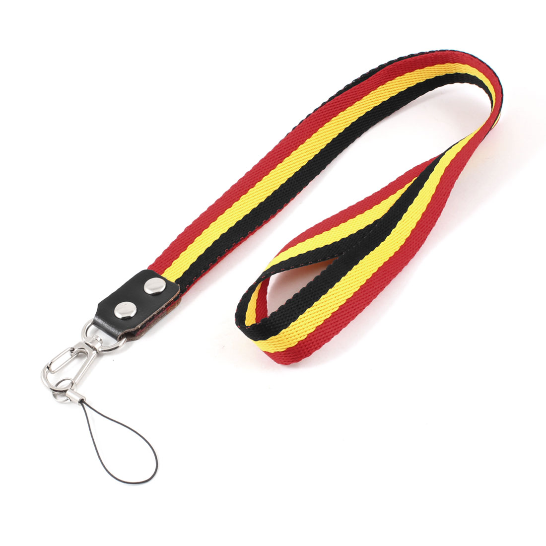 Unique Bargains Striped Print Mobile Phone Work Card Neck Strap Black Yellow Red