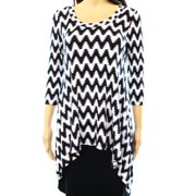 Karen Kane NEW Black White Womens Size Small S Chevron Print Scoop-Neck Knit Top
